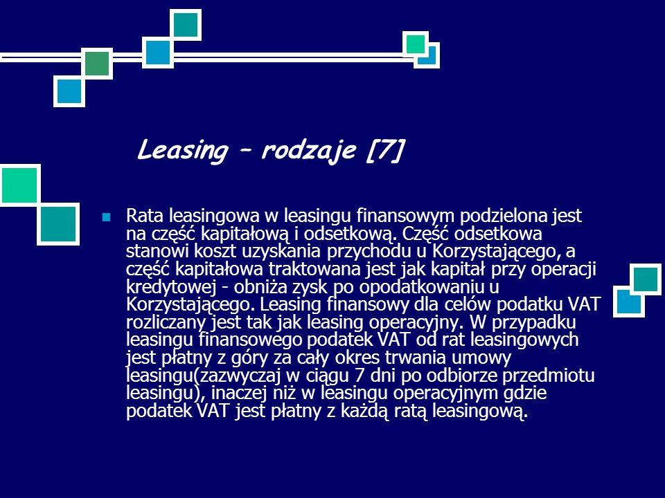 Leasing – rodzaje [7]